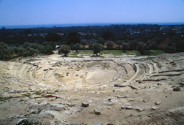 22 Sep 1997, Locri, Italy --- Locri Epizefiri, also known as Locri Epizephyri, was an ancient town founded about 7th century BC.  The theater was built in the 4th century BC not far from the ancient city, and originally had space for more than 4,500 people.  Excavations have only revealed the central part of the theater. --- Image by © Atlantide Phototravel/Corbis